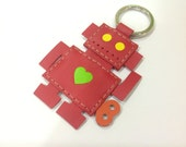 Leather Keychain - Richard the Robot leather charm ( Red )