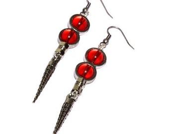 Steampunk Earrings - Red - Silver