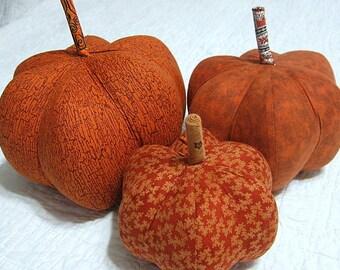 pumpkins, fabric pumpkins, Fall, Autumn, office decor, wedding centerpiece - Rich Fall  - set of 3 p U m P k I nS with 1 set of bling - 53