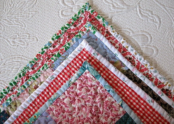 SALE - - baby girl farmhouse quilt, lap quilt,  - echo quilt no. 27  -  Ready to ship