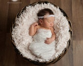 Soma - White Pink Pearl Lace Tulle Halo Headband - Baby Infant Newborn Girls Adults - Photo Prop - Wedding Baptism Flower Girl