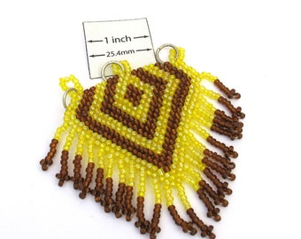 Yellow and Copper Seed Beads, Handweaved 60mm x 70mm Pendant, OOAK, 1001-38