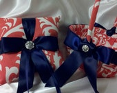 DAMASK RINGBEARER Pillow And/Or Flower Girl Basket Osborne Coral white w/Navy Blue ribbon wedding bridal ringbearer Or choose ribbon Color