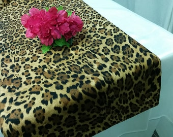 LEOPARD LINENS COLORS - Table Runner-or Napkins -or Placemats - brown black, pink, purple, hot pink,  animal print Wedding Bridal Home Decor