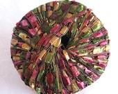 Ladder Ribbon Yarn, FALL HERBS,  burgundy green gold wide ribbon yarn, trellis yarn, Maxi 113