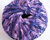Ladder Ribbon Yarn, AMETHYST, purple blue trellis yarn,  Maxi 110