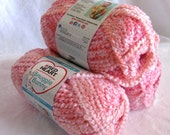Bulky weight textured pink white baby yarn,  Red Heart yarn Snuggle Bunny Flamingo