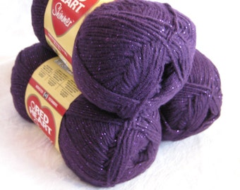 Red Heart Shimmer yarn, PLUM purple yarn, worsted weight yarn with sparkle metallic thread, radiant orchid