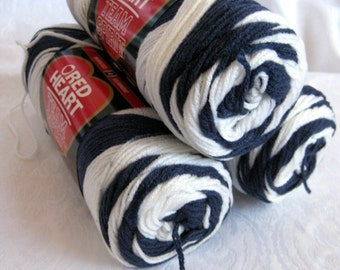 Red Heart Super Saver Team Spirit yarn,  navy blue with white, worsted weight, acrylic
