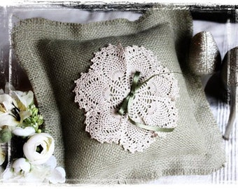 Green Burlap Vintage Doily Ring Bearer Pillow