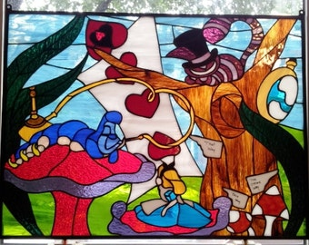 Alice in Wonderland - Stained Glass Window Panel (P-38)
