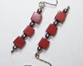 Red Jasper,Earrings handmade,Silver earrings,Sterling silver earrings,SemiPrecious earrings,Red Jasper Earrings,pierced wire earrings