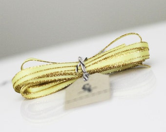 Wholesale Yellow Sparkle Satin Twine Ribbon 50 yards