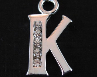 925 Sterling Silver Charm - Initial , Letter K Charm  with CZ stone - SKU: 201054-K