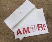 Amore letterpress card and envelope