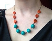 Aqua and Cinnamon Beaded Necklace with Vintage Lucite Beads
