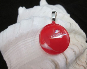 Cherry Red and Silver Dichroic Glass Pendant