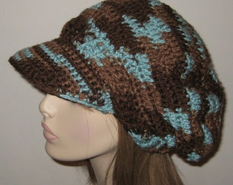 Billed Dread Tam Crochet Hat in Earth and Sky