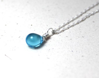 Blue Mermaid Tear Silver Necklace