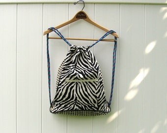 Sample Sale Cinch Backpack in Zebra Fabric  Ready to Ship