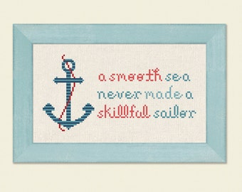 Anchor. A Smooth Sea Never Made A Skillful Sailor. Nautical Text Modern Simple Cute Red and Blue Counted Cross Stitch PDF Pattern
