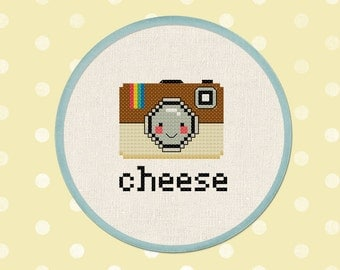 Cheese. Happy Camera. Modern Simple Cute Cross Stitch PDF Pattern