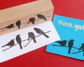 Bird Silhouettes on a Branch Rubber Stamp - Handmade rubber stamp by BlossomStamps