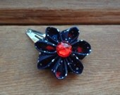 Hand Folded Kanzashi Flower Hair Clip with Red, White and Blue Stars and a Red Rhinestone Center