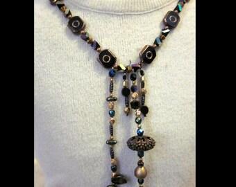 Black and Gold Art Deco Long Bib Necklace
