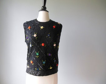 Vintage Sweater / Black Wool Sequin Beaded Shell /  Floral Sleeveless Jumper