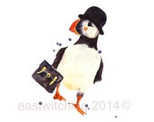 PUFFIN Print, Funny Boss Gift, Watercolor Puffin, whimsical puffin