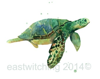 SEA TURTLE Watercolor Print, kids wall art, 8x10 print, watercolour seaturtle, ready to frame
