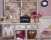Art Print of Interior Room, Paris Bedroom Decor, Pink, Chanel, Isabelle's Dressing Room Fine Art Reproduction