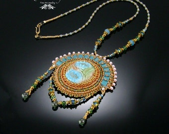 Desiree Pendant, Polymer Clay, Bead Embroidery, Blue and Gold