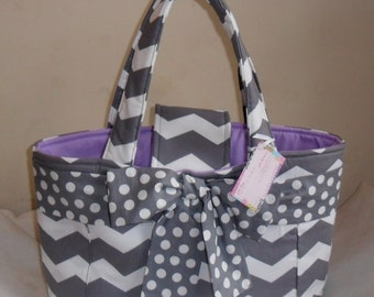 Large Gray Chevron Polka Dot Bow and Lavender Interior Diaper Bag Tote