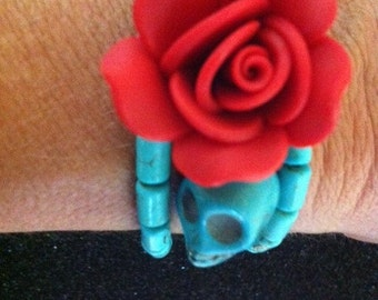 Day of the Dead Icon Inspired Traditional Design and Color Memory wire Bracelet