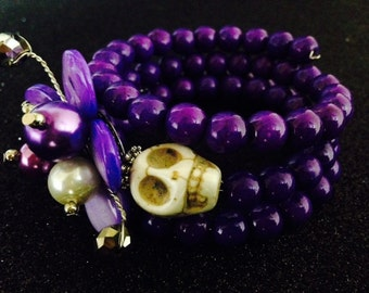 Beautiful Bright Purple Design Rockabilly Day of the Dead Gemstone Bracelet-Popular Purple