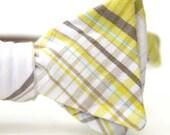 neon yellow & grey freestyle bow tie