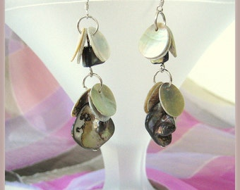 Earrings- Dangling earrings- Natural Pearl coins- Freshwater Pearls- Sterling silver- Gift idea