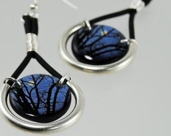 midnight moon resin earrings, full moon , trees at night , midnight blue earrings , dangle earrings