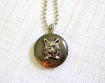 Cat Locket Necklace, Silver Cat, Kitten Locket, Kitty Cat, Pet, Pet Jewelry, Pet Necklace, Brass, Cat Lover, Animal Locket, Days Long Gone