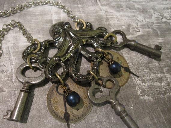 Octopus Necklace, Skeleton Key Necklace, Clockworks, Upcycled Keys, Grunge, on AMERICAN IDOL- unlocked secrets from beneath the sea