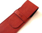 Leather Pen Case, Dark Red (2 pens)