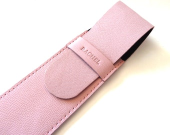 FREE SHIPPING, Leather Pen Case, Light Pink (2 pens)