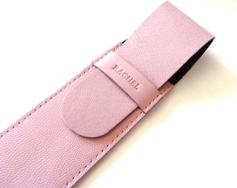 Leather Pen Case, Light Pink (2 pens)