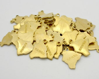 Hawaii State Charm, Raw Brass, 5 pieces, Made in the USA