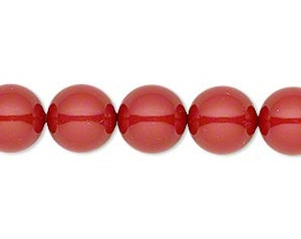 6 Red Coral Swarovski Crystal Pearl Beads,10mm round.