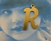 Natural Raw Brass Small  Fancy Script Charms Letter R 2012RAW x1
