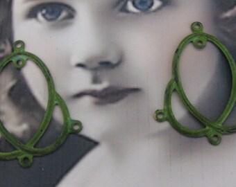 Verdigris Patina Brass Earring Dangles 480VER x2