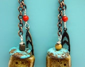 Mixed Media Dangle Earrings with Glazed Ceramic Beads and Turquoise Discs